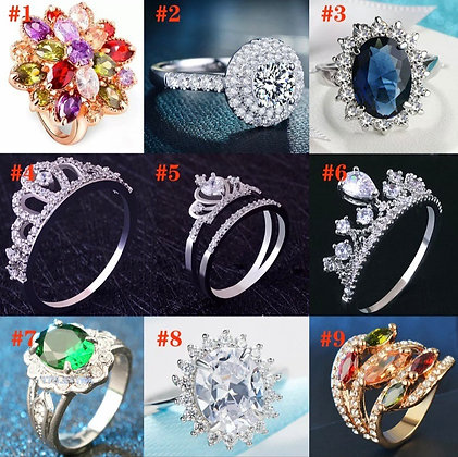 European Bowknot Gem Rings Silver Color CZ Ring