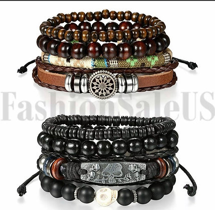 Braided Women Leather Bracelet Set