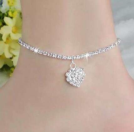 Silver Heart Charm Ankle Bracelet