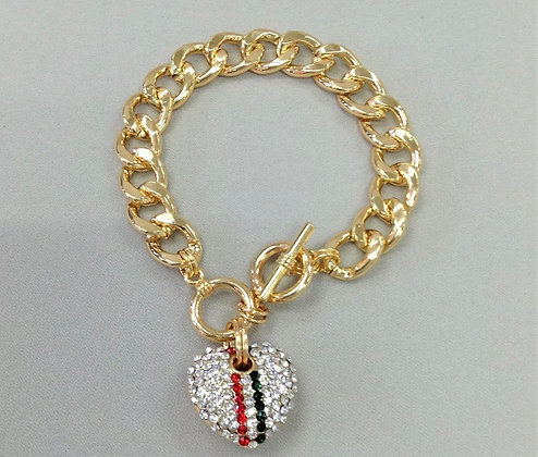 Gold Finish Cuban Chain Paved Red & Green Rhinestone Heart Charm Bangle Bracelet