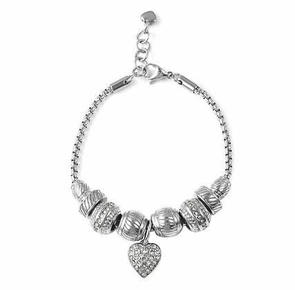 Crystal Rhinestone Stainless Steel Love Heart Charm Bracelet Bangle 7-8''