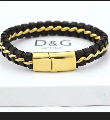 """DG Men's 8.5"""" Gold Stainless-Steel Black-Braided Leather,Magnetic..Bracelet* BOX"""