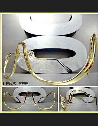 Oversized Retro Style Lensless SUN GLASSES Gold Metal Frame Only NO Lens Shades