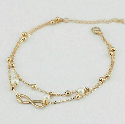 Women's Stainless Steel Double Layer Charm Love Ring Bracelet Chain Anklet