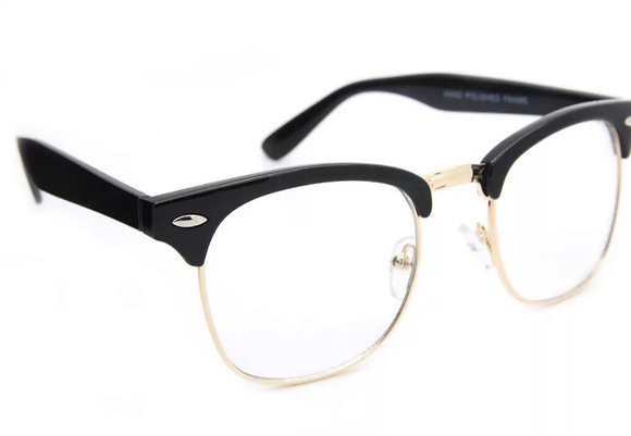 Clear Lens Vintage Retro Unisex Eyeglasses  Metal and Plastic Half Frame