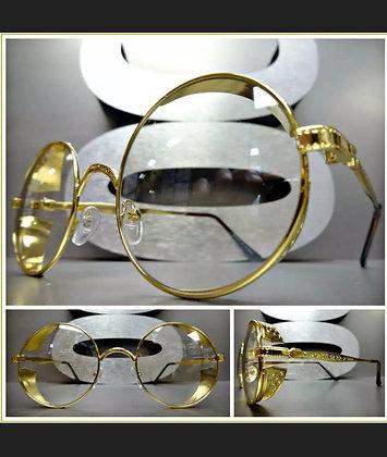 Mens VINTAGE RETRO Style Clear Lens EYE GLASSES Round Gold Blinder Fashion Frame