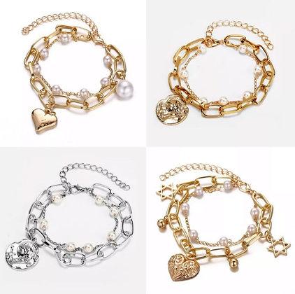 Pearl Gold Silver Charm Chain Bracelet Heart Pendant