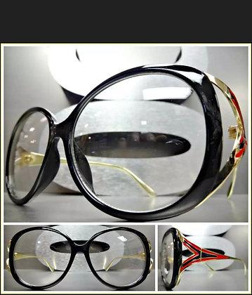 Oversized Vintage Designer Retro Style Clear Lens EYE GLASSES Black & Gold Frame