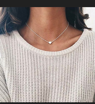Simple Minimalist Choker Dainty Silver Crystal Chain Pendant