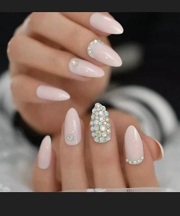 Press On Nails - Light Pink Accent - Almond Shape - Stick On Manicure Set