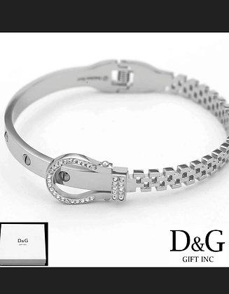 "DG Women's 6.5"" Stainless Steel Silver Belt Bangle CZ Eternity Bracelet.Box"