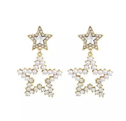 925 Sterling Silver Post 14K Gold Plated Pearl Crystal Star Dangle Drop Earrings