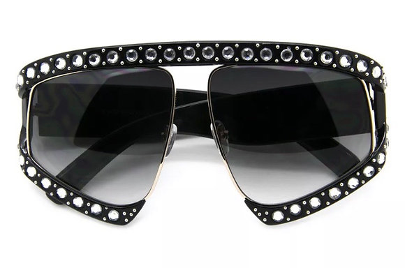 Large Oversized Women Sunglasses Fashion Plastic Frame w Stones Designer Shades