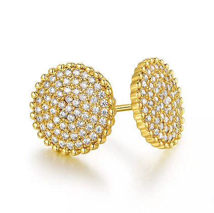 Sevil 18K Gold Plated Circle Stud Earrings Made With Swarovski Elements