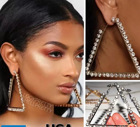 "3.5"" Large Triangle Crystal Rhinestone Hoop Earrings"