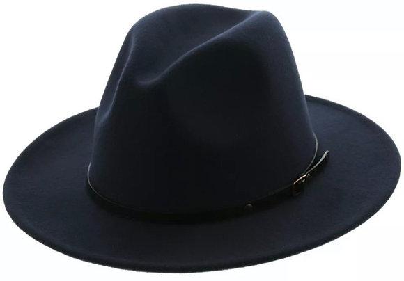 Red Bottom Two Tone Flat Brim Fedora Hat