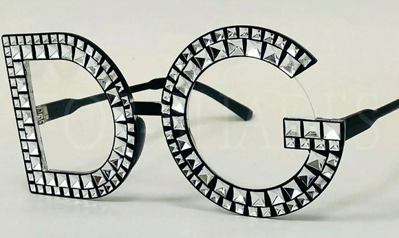 Designer Style Clear Lens Big Large Painted Bling Plastic Shades