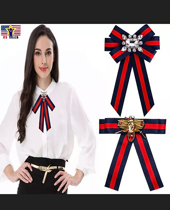Women British Striped Charm Large Big Bow Tie Ribbon Bee Crystal Pins Brooch U.S