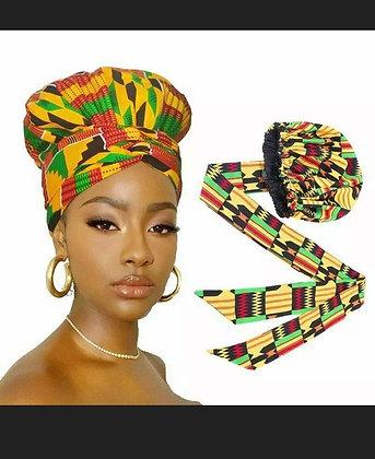 Women Turban Double Layer Polyester African Print Head Wrap Ribbon Satin Bonnet