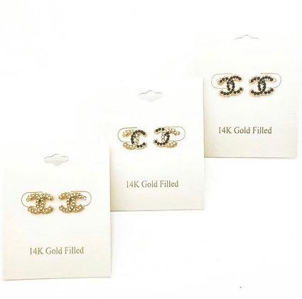 14K CC Stone Earrings