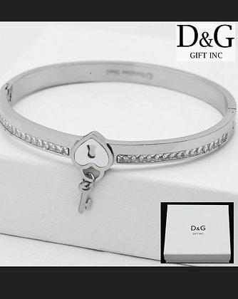 "DG Women's 6.5""Silver Stainless Steel*lock Eternity CZ Bangle Charm Bracelet*Box"