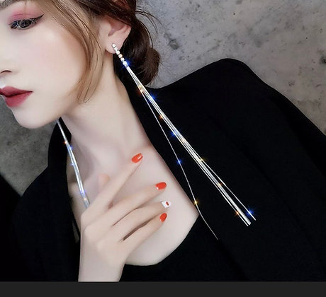 Sterling Silver Post 14K Gold Plated Long Crystal Dangle Drop Earrings