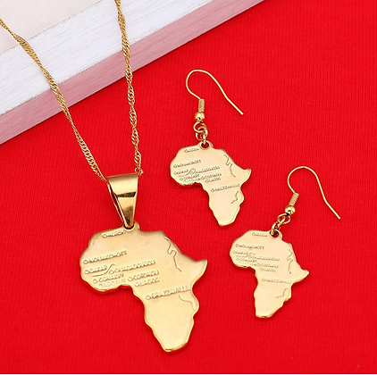 African Map Chain and Earring Set- Gold