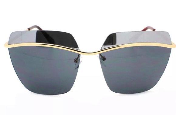 Designer Inspired Square Rimless Sunglasses Half Mirrored Lens