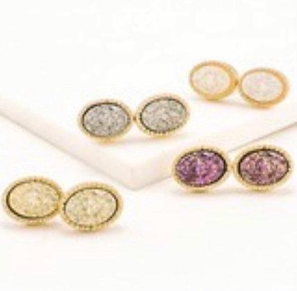 Oval Shape Diamond Crusted Earrings