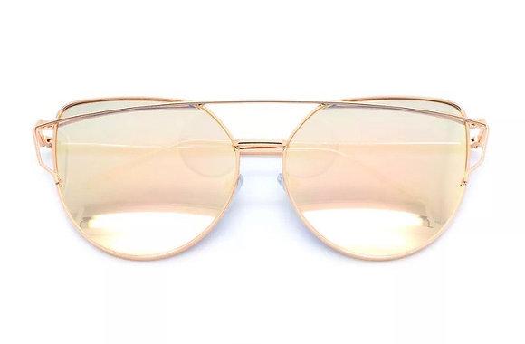 New Oversized Cat Eye Sunglasses Flat Mirrored Lens Metal Frame