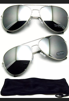 Aviator Sunglasses Vintage Mirror Lens New Men Fashion Frame Retro Silver
