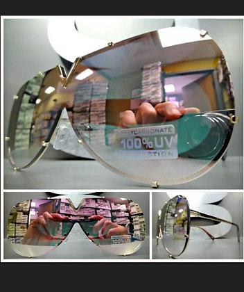 Oversize VINTAGE RETRO SHIELD Style SUN GLASSES Gold Frame Pink Mirror Flat Lens