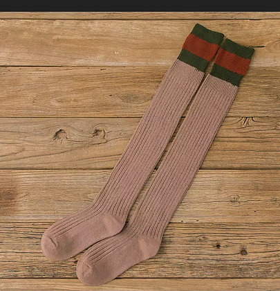 Women Cotton Over Knee-High Boot Socks Thigh Stocking Warm Skinny Solid Fashion