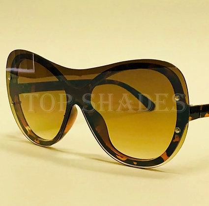 Women Sunglasses Design Cat eye Round Oversize Fashion  New Style Brown Orange