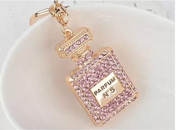 Creative Rhinestone Parfum Perfume Bottle Crystal Charm Keychain