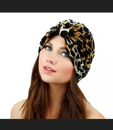 Kristin Perry Giraffe Print Velvet Full Turban Headwrap