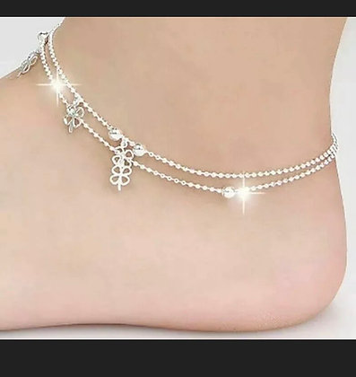Ankle Bracelet 925 Silver Plated Clover Anklet Bracelet