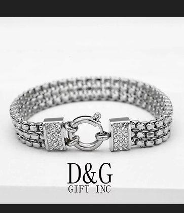 "DG Women's 7.5"" Silver Stainless Steel 10mm CZ Franco Chain Bracelet Unisex.Box"