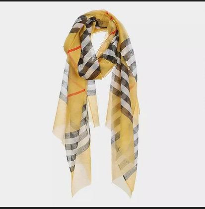 Designer Inspired Mustard Multi Color Stripe Light Weight Scarf