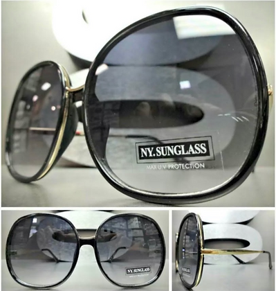 Oversize Exaggerated Vintage Retro Round Black and Gold Frames