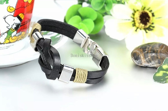 Double Leather Belt Infinity Love Symbol Bracelet