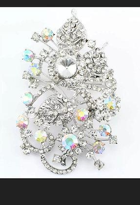 Clear Fancy Austrian Rhinestone Crystal Sparkling Wedding Bridal Brooch Pin