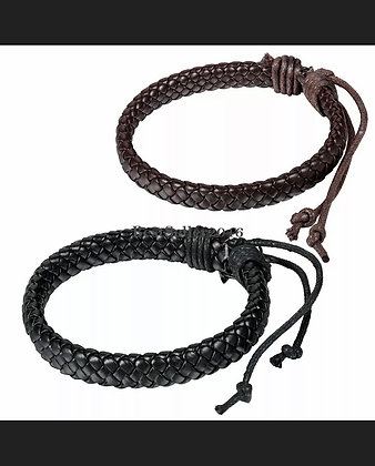 2PCS Braided Rope Wrap Cuff Leather Bracelets Wristband Adjustable Mens Womens