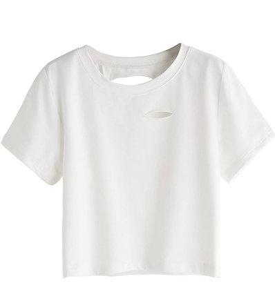Women's Short Sleeve Distressed Crop T-Shirt Summer Tops