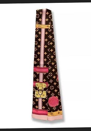 Silk Scarf Handbag Warp Logo Monogram Theme Luxury