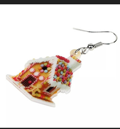 Candy House Gingerbread Thanksgiving Holiday Earrings Dangle Drop
