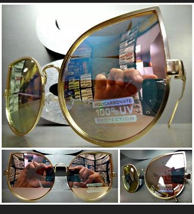 OVERSIZE VINTAGE RETRO CAT EYE Style SUNGLASSES Rose Gold Frame Pink Mirror Lens