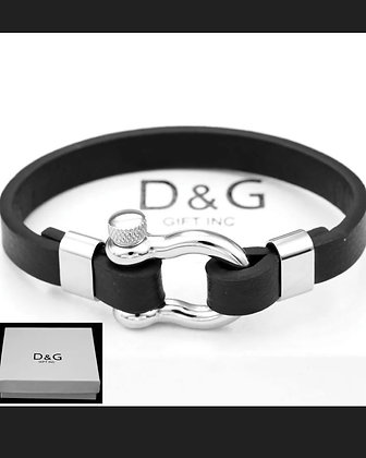 "DG Men's 8"" Silver Stainless-Steel,HorseShoe.Black Leather,Bracelet*Unisex.BOX"