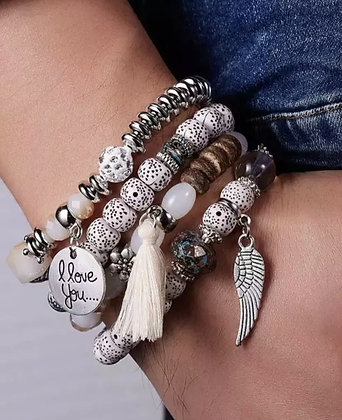 Multi Layered Charm Crystal Beaded I LOVE YOU Bracelets