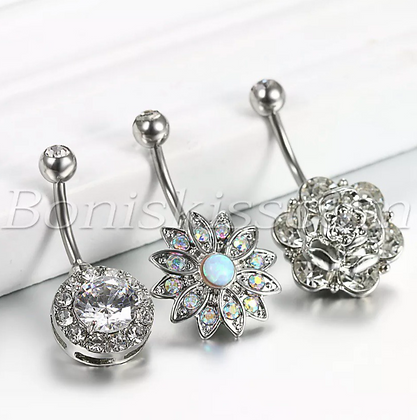 3pcs Charm Stainless Steel Belly Button Rings